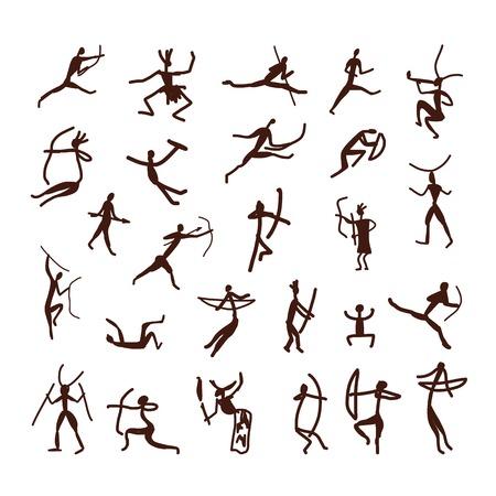 바위 그림은 민족의 사람들은 디자인을위한 스케치