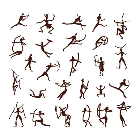 Rock paintings, ethnic people sketch for your design Vector