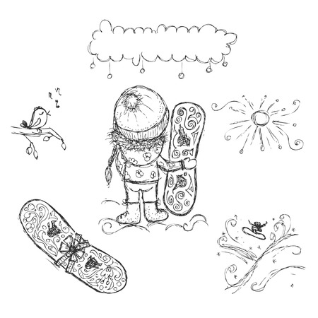 Cute girl with snowboard, sketch for your design Vector