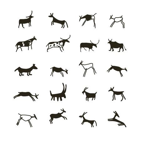 pintura rupestre: Pinturas rupestres, animales étnicos boceto de su diseño
