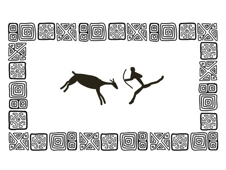 african tribe: Rock paintings, sketch frame for your design