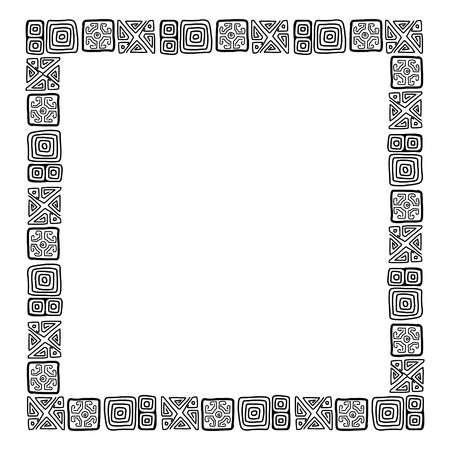 Frame with ethnic handmade ornament for your design Vector