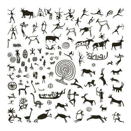 pintura rupestre: Pinturas rupestres, boceto de su dise�o