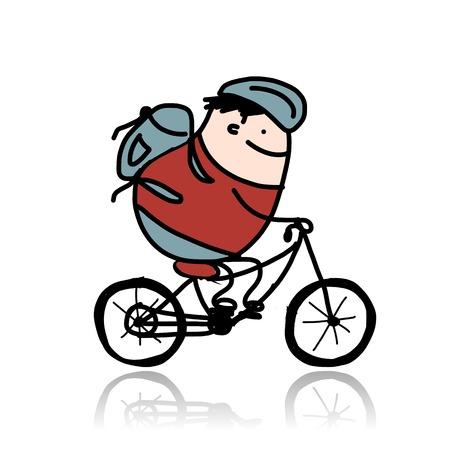 Tourist rides a bike, cartoon for your design Vector