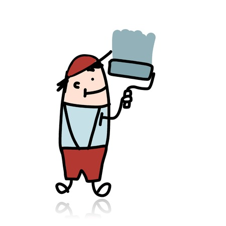 house painter: House painter with roller paints the wall, cartoon for your design Illustration