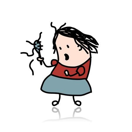 calvicie: Mujer pierde el pelo, de dibujos animados para su diseño