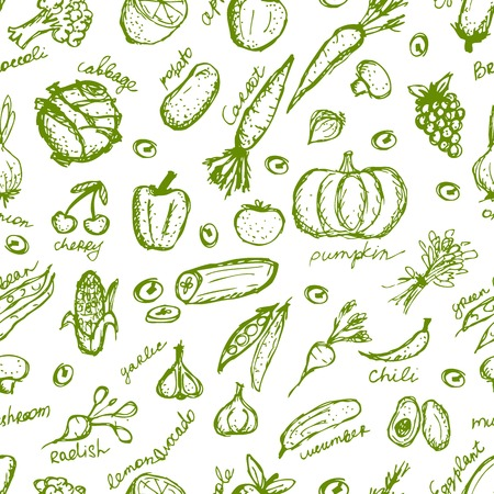 Vegetable seamless pattern for your design Vector