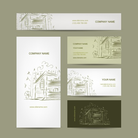Set of business cards design with country house  Vector