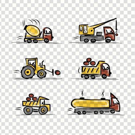 truck crane: Set of construction equipment for your design
