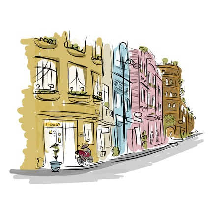 Sketch of old street for your design