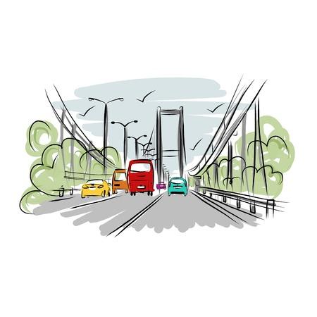 Schets van het verkeer over de weg in de stad voor uw ontwerp Stock Illustratie