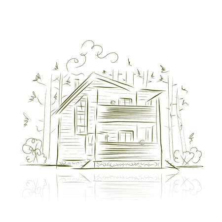 Country house in forest, sketch for your design Vector