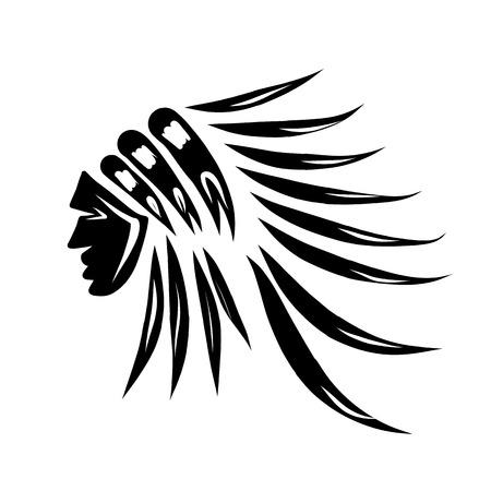 인도 수석의 머리, 디자인을위한 검은 실루엣 일러스트