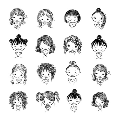 female portrait: Set of cute girl characters, cartoon for your design