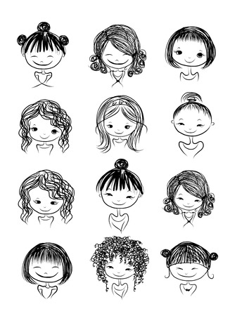 sketch child: Set of cute girl characters, cartoon for your design
