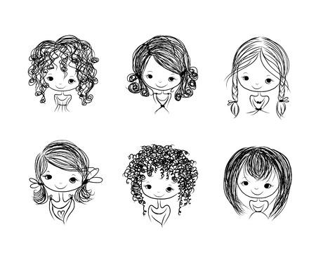 bocetos de personas: Linda ni�a sonriente, bosquejo para su dise�o Vectores