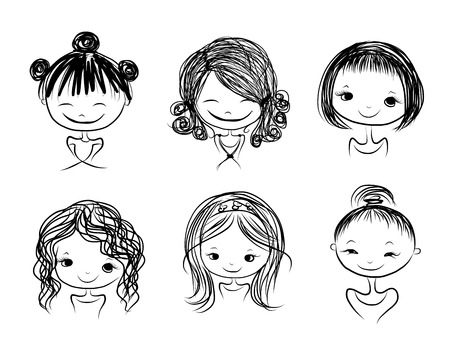head dress: Cute girl smiling, sketch for your design