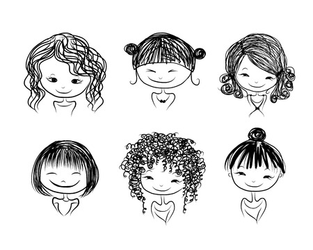curly hair child: Cute girl smiling, sketch for your design