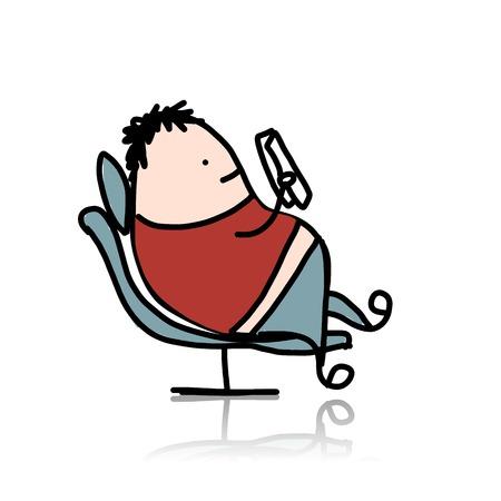 leggere libro: L'uomo di riposo in poltrona e libro di lettura