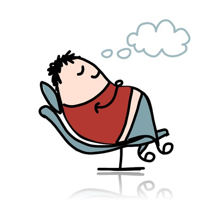 Man sleeping in armchair Vector