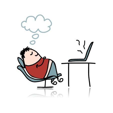 Mann schlafend auf Sessel am Arbeitsplatz Illustration