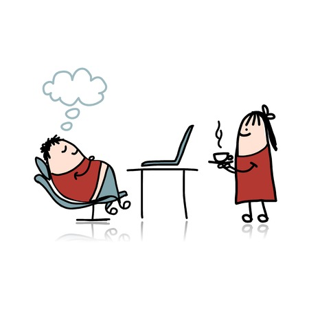 hot secretary: Secretary girl bring hot coffee for boss Illustration