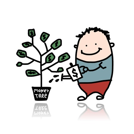 growing tree: Man watering a money tree