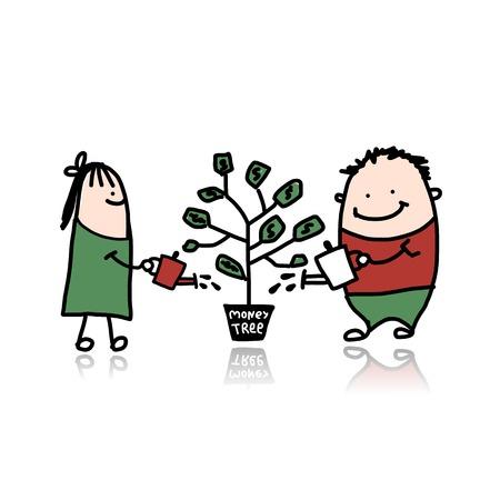 Couple watering a money tree Vector
