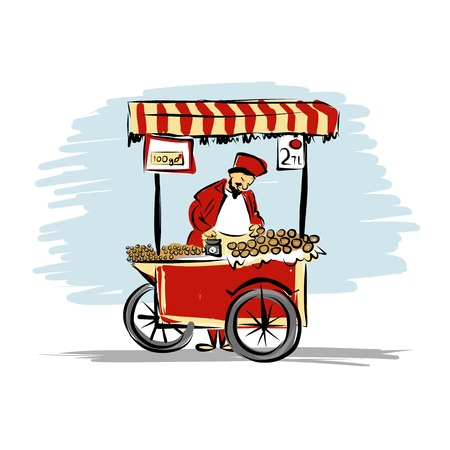 Pitchman with cart of food for your design Vector