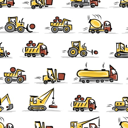 excavating machine: Set of construction equipment, seamless pattern design