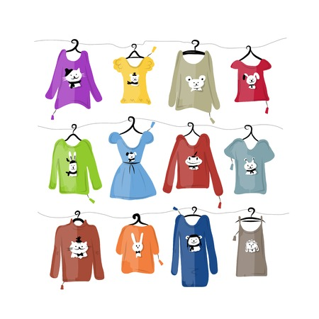 t shirt blouse: Set of clothes on hangers with funny animal design
