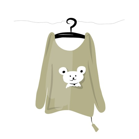 t shirt blouse: Top on hangers with funny bear design Illustration