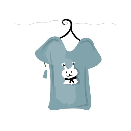 t shirt blouse: Top on hangers with funny squirrel design Illustration
