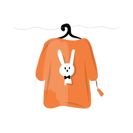 t shirt blouse: Sweater on hangers with funny rabbit design Illustration