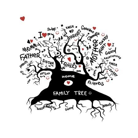 albero della vita: Albero schizzo famiglia per la progettazione Vettoriali