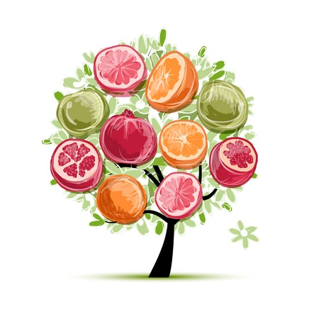 Frame made from fruits, sketch for your design Vector