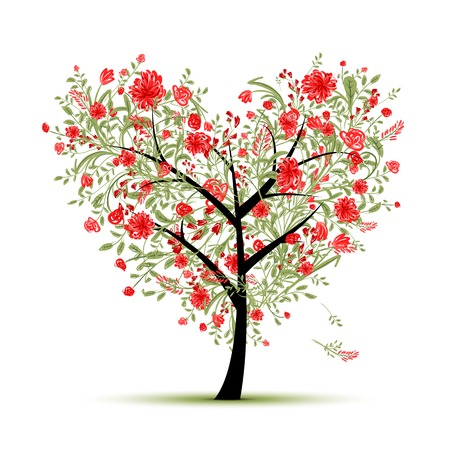 Floral love tree for your design, heart shape Vector