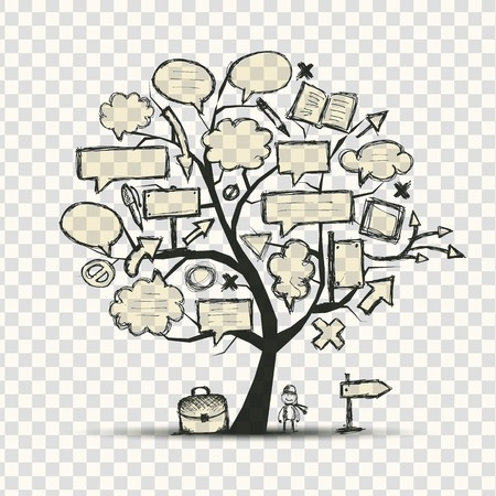 cartoon hand: Tree with frames, transparent background