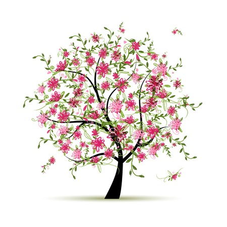 Spring tree with roses for your design