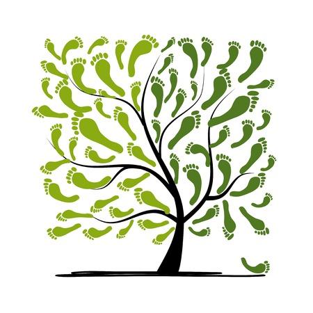 huellas pies: �rbol de la huella verde para su dise�o
