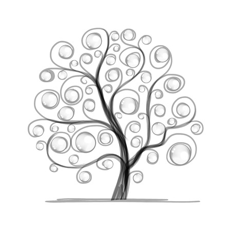 tree outline: Art tree beautiful for your design Illustration