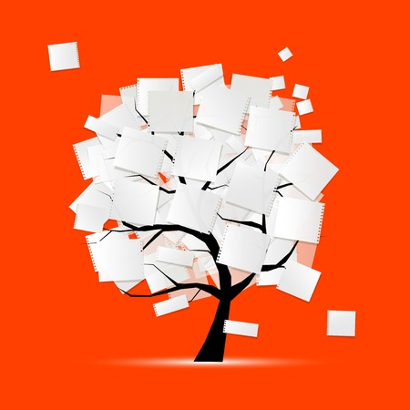 family memories: Art tree with papers for your text Illustration