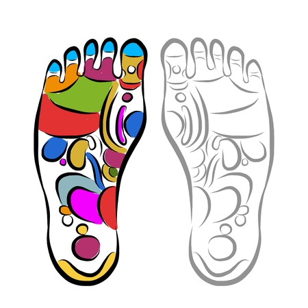 feet care: Foot massage reflexology, sketch for your design