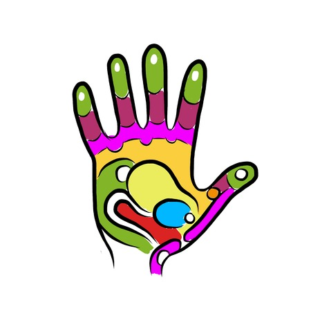reflexology: Hand sketch for your design, massage reflexology
