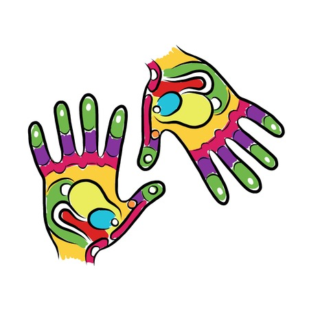 reflexology: Hands sketch for your design, massage reflexology