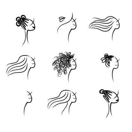 Set of female hairstyle, sketch for your design Vector