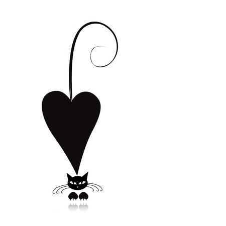 outline drawing: Cat in love, black silhouette for your design