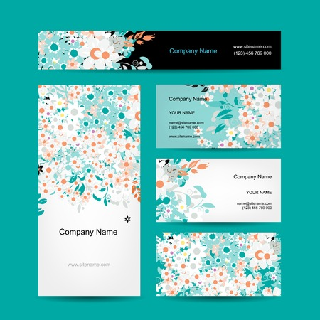 temlate: Business cards design, floral style