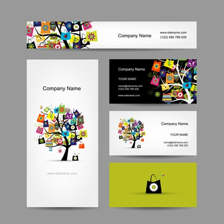 Set of business cards design, shopping tree with bags Vector