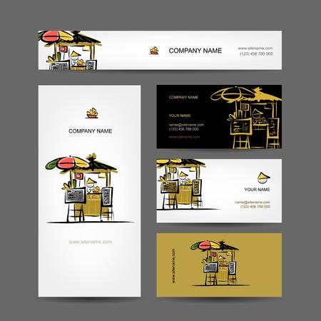 thai food: Set of business cards design, street market